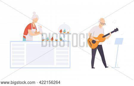 Elderly People Hobbies Set, Senior Woman Baking Cupcake, Senior Man Playing Guitar, Active Lifestyle