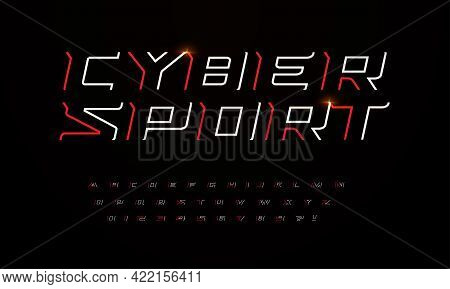 Sport Futuristic Style Font With Sharp Angles And Thin Lines. Outline Letters And Numbers For Game H