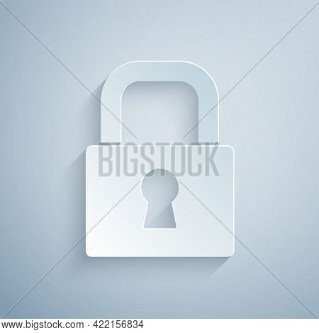 Paper Cut Lock Icon Isolated On Grey Background. Padlock Sign. Security, Safety, Protection, Privacy