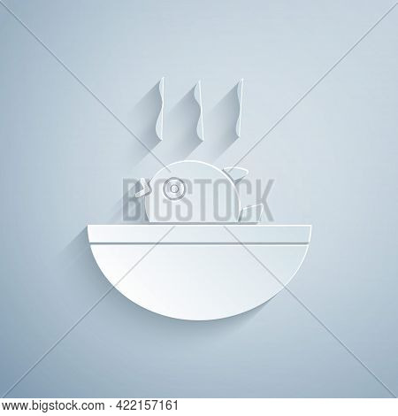 Paper Cut Puffer Fish Soup Icon Isolated On Grey Background. Fugu Fish Japanese Puffer Fish. Paper A