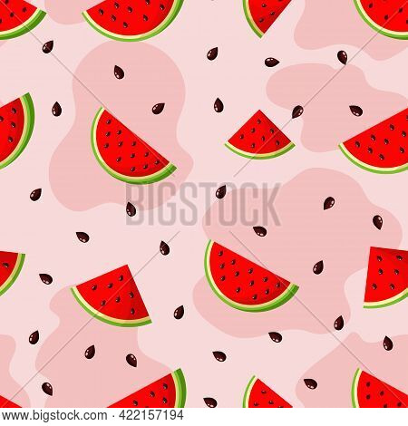 Vector Seamless Pattern With Watermelon Wedges On Red Background.