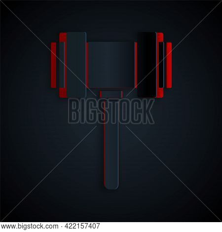 Paper Cut Judge Gavel Icon Isolated On Black Background. Gavel For Adjudication Of Sentences And Bil
