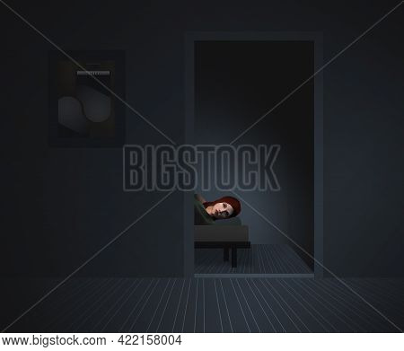 A Woman Is Seen Wide Awake In A Bed Inside A Doorway Of An All Gray Colored Room In This 3-d Illustr