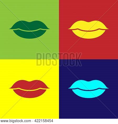 Pop Art Smiling Lips Icon Isolated On Color Background. Smile Symbol. Vector