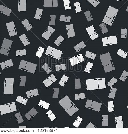 Grey Refrigerator Icon Isolated Seamless Pattern On Black Background. Fridge Freezer Refrigerator. H