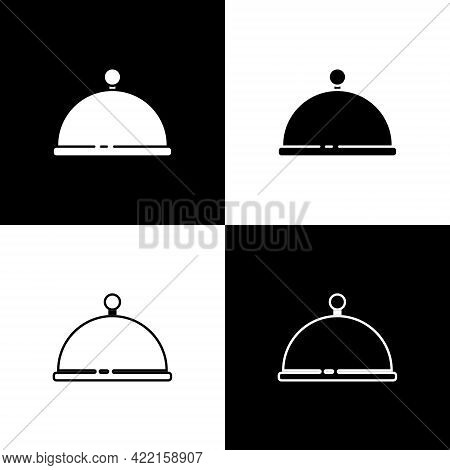 Set Covered With A Tray Of Food Icon Isolated On Black And White Background. Tray And Lid. Restauran