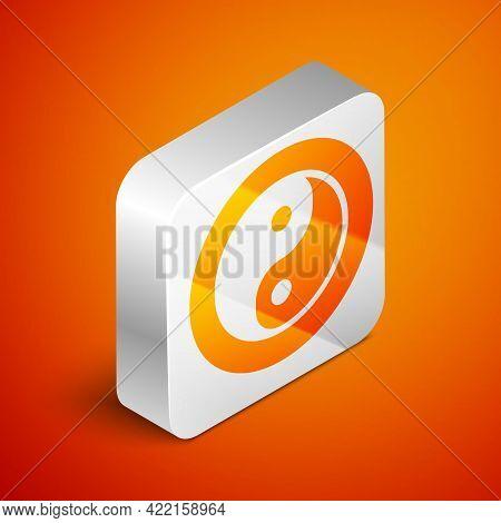 Isometric Yin Yang Symbol Of Harmony And Balance Icon Isolated On Orange Background. Silver Square B