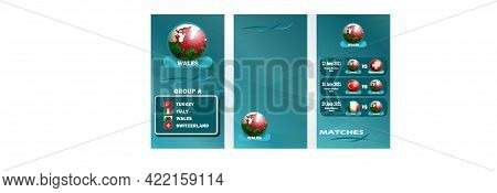 Vertical Banner Of The European Football Championship 2020 For Social Networks. Banner Of Group A, T