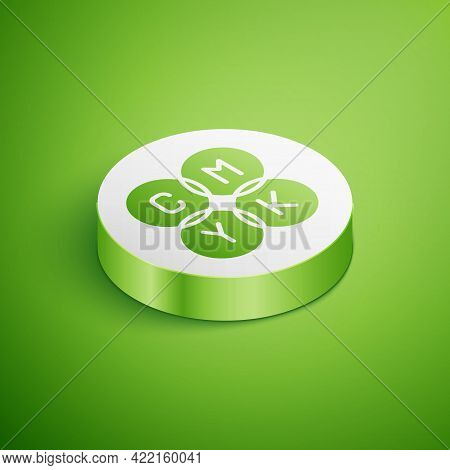 Isometric Cmyk Color Mixing Icon Isolated On Green Background. White Circle Button. Vector