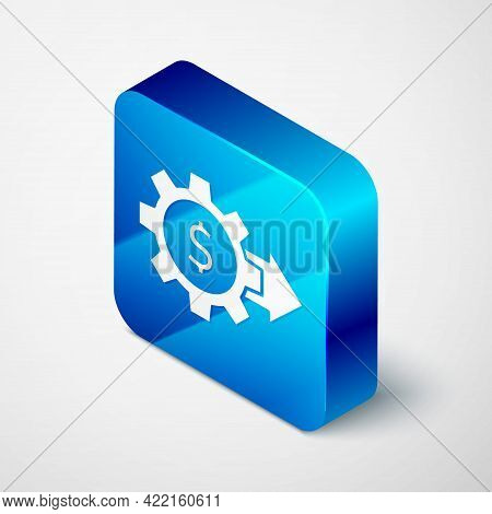 Isometric Gear With Dollar Symbol Icon Isolated On Grey Background. Business And Finance Conceptual