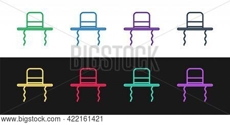 Set Line Orthodox Jewish Hat With Sidelocks Icon Isolated On Black And White Background. Jewish Men