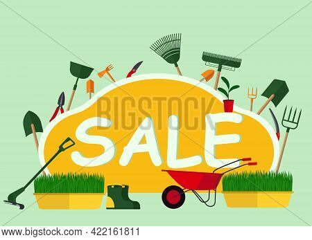 Concept Of A Leaflet About The Sale Of Gardening Tools With The Image Of Shovels, Trimmers, Rakes An