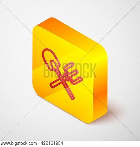 Isometric Line Shovel And Rake Icon Isolated On Grey Background. Tool For Horticulture, Agriculture,