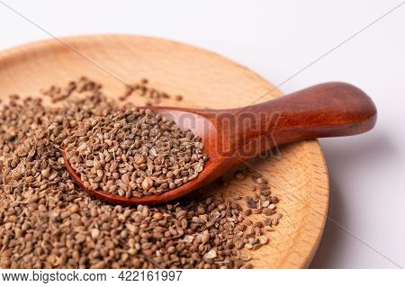 Anise In A Plate On A White Background. Anise Seeds In A Plate.