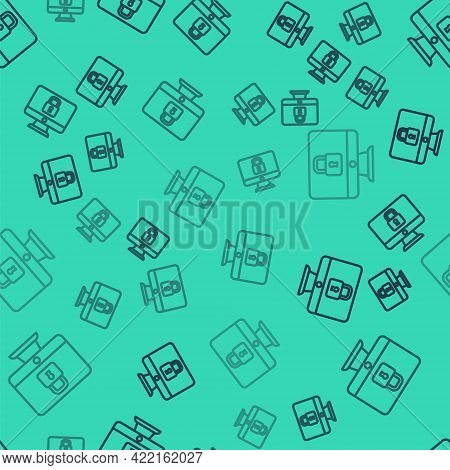 Black Line Lock On Computer Monitor Screen Icon Isolated Seamless Pattern On Green Background. Secur