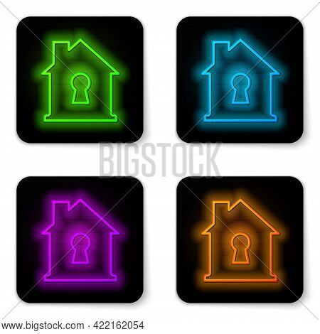 Glowing Neon Line House Under Protection Icon Isolated On White Background. Home And Shield. Protect
