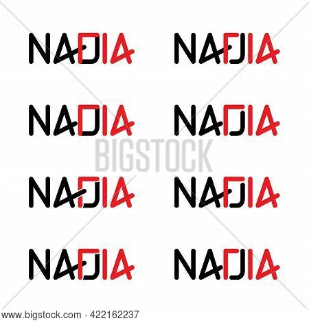 Nadia Typography With February 14th Flat Design.