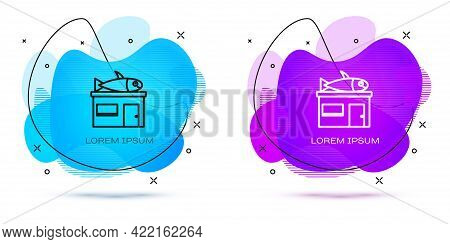 Line Seafood Store Icon Isolated On White Background. Facade Of Seafood Market. Abstract Banner With
