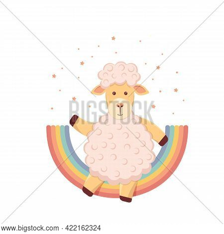 Cute Children's Illustration Of A Lamb On A Rainbow, Around A Star On A White Background. Vector Ill