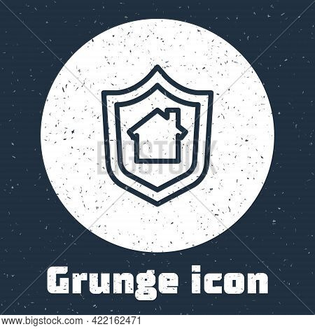 Grunge Line House With Shield Icon Isolated On Grey Background. Insurance Concept. Security, Safety,