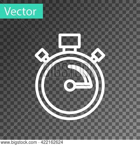 White Line Stopwatch Icon Isolated On Transparent Background. Time Timer Sign. Chronometer Sign. Vec