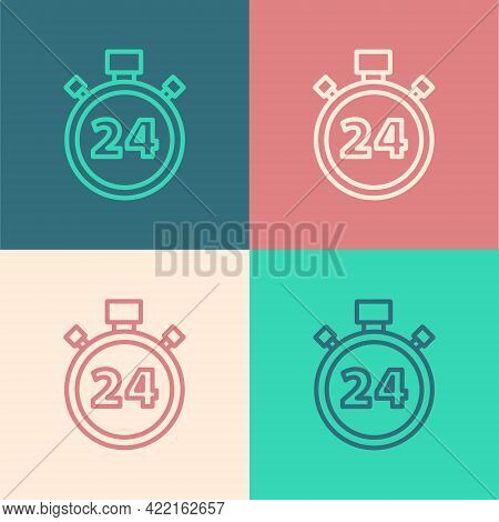 Pop Art Line Stopwatch 24 Hours Icon Isolated On Color Background. All Day Cyclic Icon. 24 Hours Ser