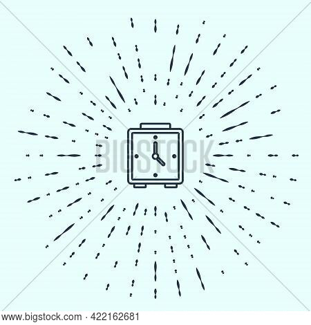 Black Line Alarm Clock Icon Isolated On Grey Background. Wake Up, Get Up Concept. Time Sign. Abstrac