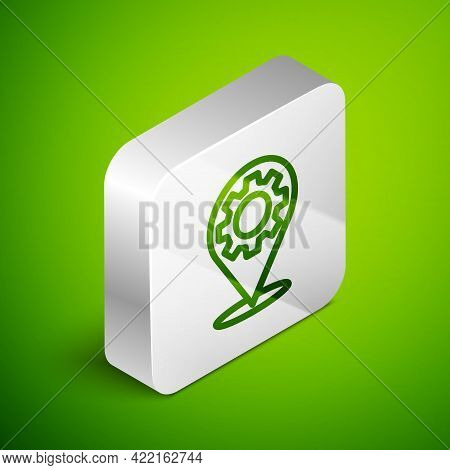 Isometric Line Car Service Icon Isolated On Green Background. Auto Mechanic Service. Repair Service