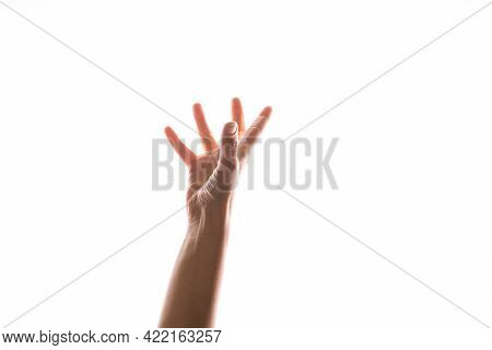 Hand Gestures. Womans Hand Reaches Up To Catch Or Grab Something,