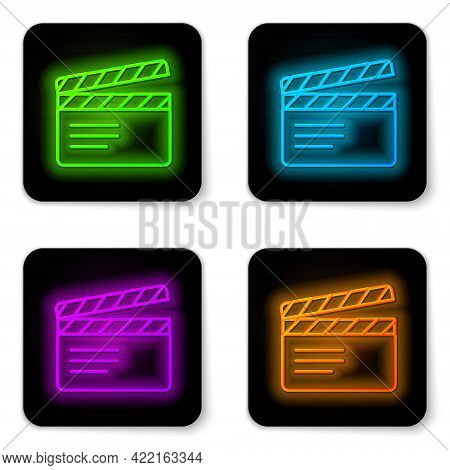 Glowing Neon Line Movie Clapper Icon Isolated On White Background. Film Clapper Board. Clapperboard