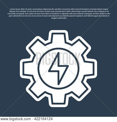 Blue Line Gear And Lightning Icon Isolated On Blue Background. Electric Power. Lightning Bolt Sign.