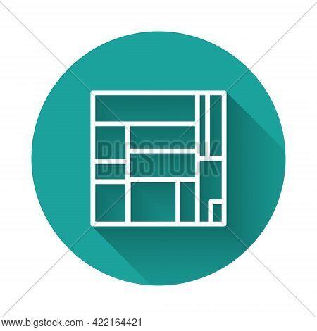 White Line House Edificio Mirador Icon Isolated With Long Shadow. Mirador Social Housing By Mvrdv Ar