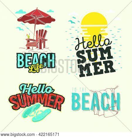 Set Bundle Of Beach Vacation Vector Logo, Illustration Of Marine Sunset Horizon Concept, Design Of S