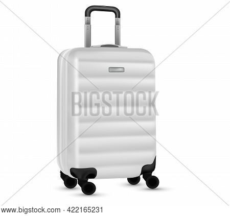 Bag Travel. Silver Travel Plastic Suitcase Or Vacation Baggage Bag Collection Isolated On White Back