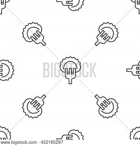 Grey Line Dumplings On Fork Icon Isolated Seamless Pattern On White Background. Pierogi, Varenyky, P