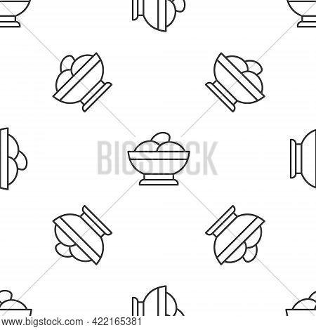 Grey Line Varenyky In A Bowl Icon Isolated Seamless Pattern On White Background. Pierogi, Varenyky,