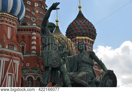 Monument To Minin And Pozharsky In Moscow. Monument Against The Background Of The Cathedral. Moscow,