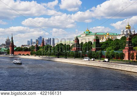 The Moscow Kremlin And The Moskva River. View Of The Kremlin And High-rise Buildings. Moscow, Russia