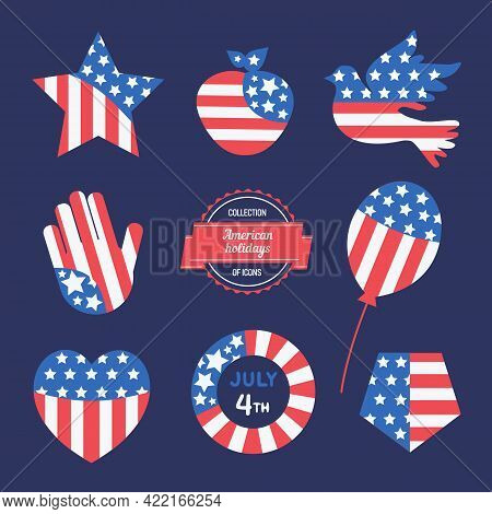 American Holiday Flat Vector Icon Set. United States Of America Flag Colors Symbols Illustration. Gr