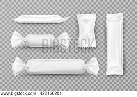 White Polyethylene Package For Caramel Candies, Chocolate Bars, Food Snacks And Pouch Sweets Product