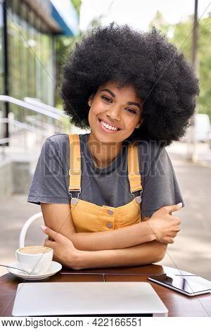 Vertical Image Of Young African Attractive Smiling Happy Hipster Black Teenage Girl With Afro Hair S