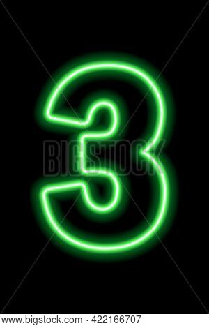 Neon Green Number 3 On Black Background. Learning Numbers, Serial Number, Price, Place.