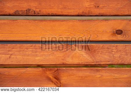 Frame Old Bench Wood Background. Shabby Paint Pine Panel. Brown Red Wooden Square Texture. Timber Is