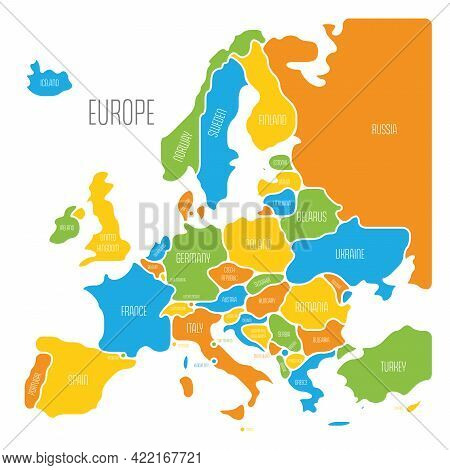 Simplified Map Of Europe. Rounded Shapes Of States With Smoothed Border. Colorful Simple Flat Vector