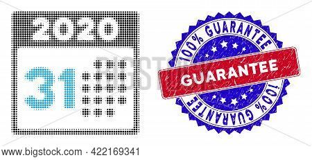 Dotted Halftone Last 2020 Day Icon, And 100 Percents Guarantee Scratched Rubber Seal. 100 Percents G