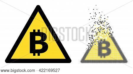 Fractured Pixelated Bitcoin Warning Vector Icon With Destruction Effect, And Original Vector Image.
