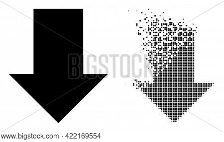 Dispersed Dotted Fall Down Arrow Vector Icon With Wind Effect, And Original Vector Image. Pixel Diss