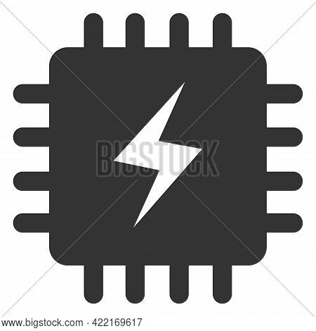 Power Chip Vector Icon. A Flat Illustration Design Of Power Chip Icon On A White Background.
