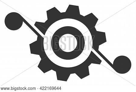 Gear Solution Vector Illustration. A Flat Illustration Design Of Gear Solution Icon On A White Backg