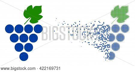 Dispersed Dot Grapes Bunch Vector Icon With Wind Effect, And Original Vector Image. Pixel Dissolving